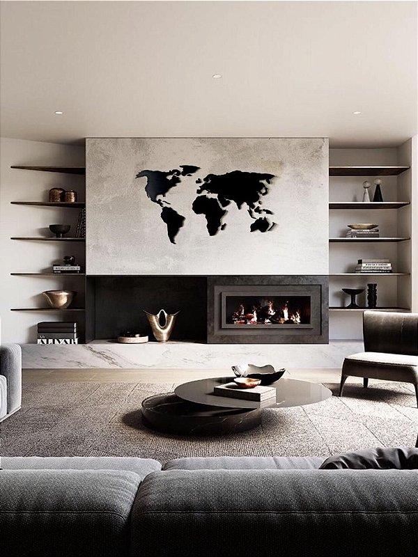 Mapa Mundi Decoração  - Painel Parede MDF - Grande - 1.60x75cm