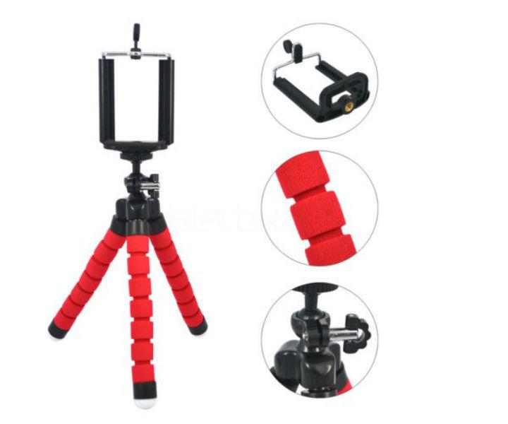 Tripe Selfie Flexi Pod Vermelho Para Câmera E Celular