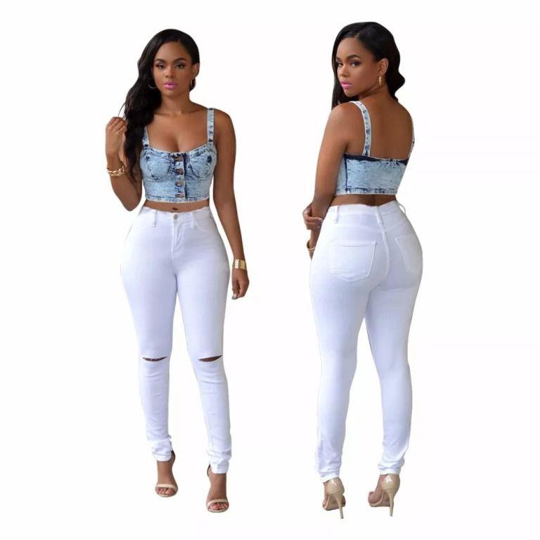 668d0abdb4 calça-feminina-skinny-lycra-cintura-alta-preta-rasgada-joelho ...