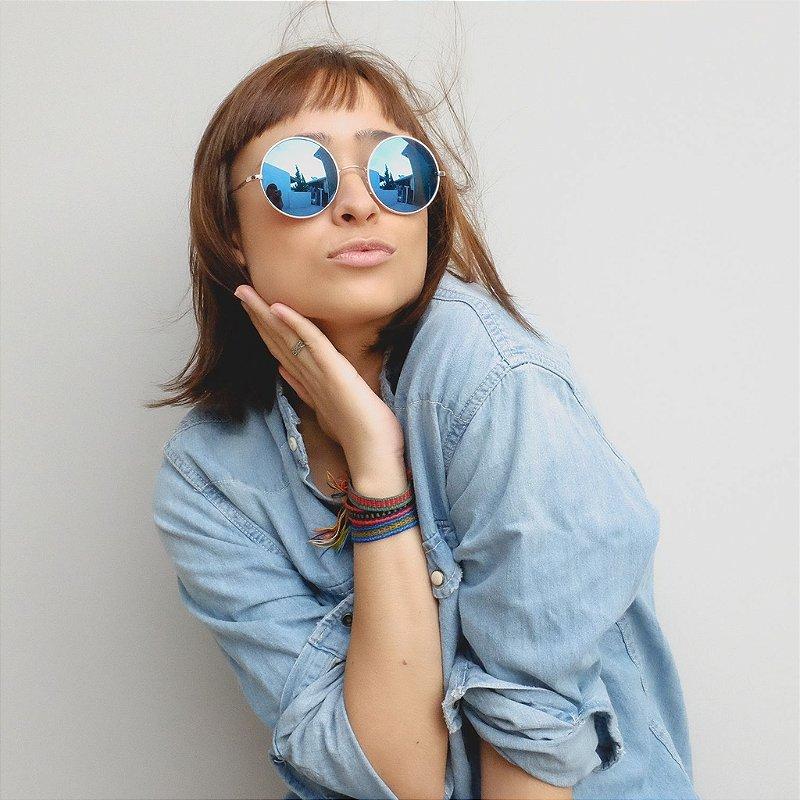 Óculos de Sol Zocla | Redondo Espelhado Azul