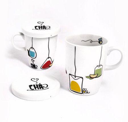 Caneca de Porcelana Para Chá