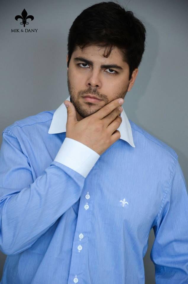 Camisa social masculina manga longo azul original P 096b2971304