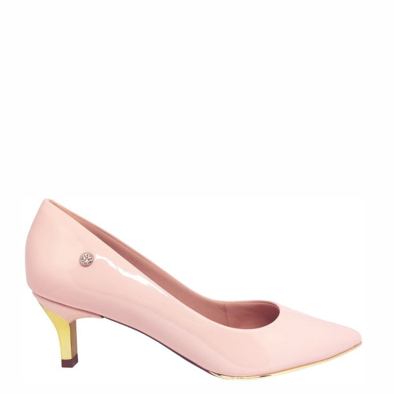 Scarpin Le Bianco Vernazza Salto Baixo Fino Dourado Bico Fino Rosa Quartzo em Verniz