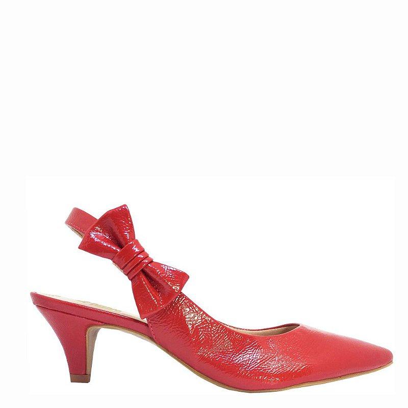 Scarpin Chanel Le bianco  Veneza Salto Baixo Vermelho em Verniz Molhado