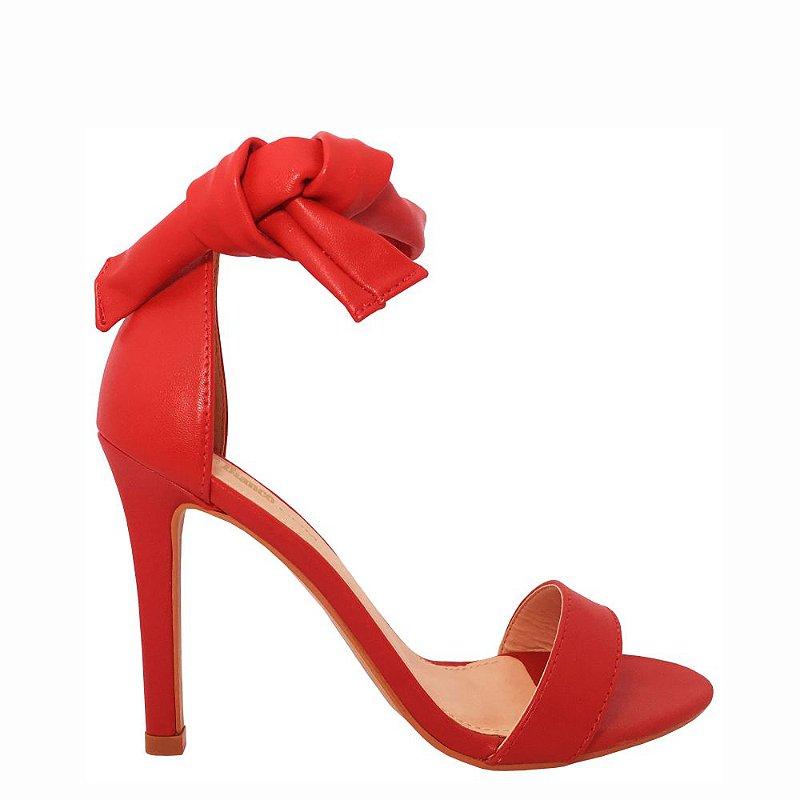 Sandália Le Bianco Filadélfia Salto Fino Alto Vermelha em Calf