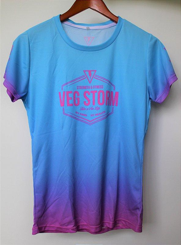 Camiseta dry fit feminina degrade azul bebê com rosa