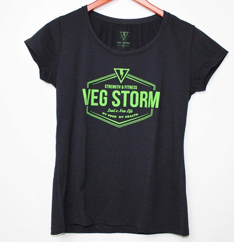 Camiseta dry fit feminina preta com verde limão