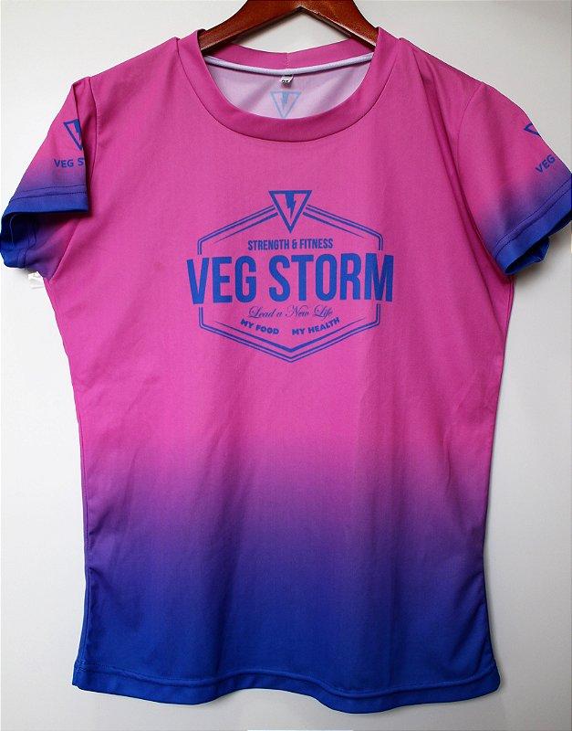 Camiseta dry fit feminina degrade rosa com azul