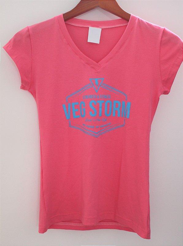 Camiseta Viscolycra feminina decote V goiaba com azul piscina