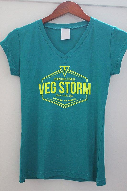 Camiseta Viscolycra feminina decote V verde com amarelo flúor