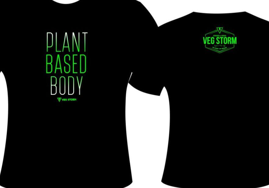 Camiseta dry fit preta com verde limao Plant Based