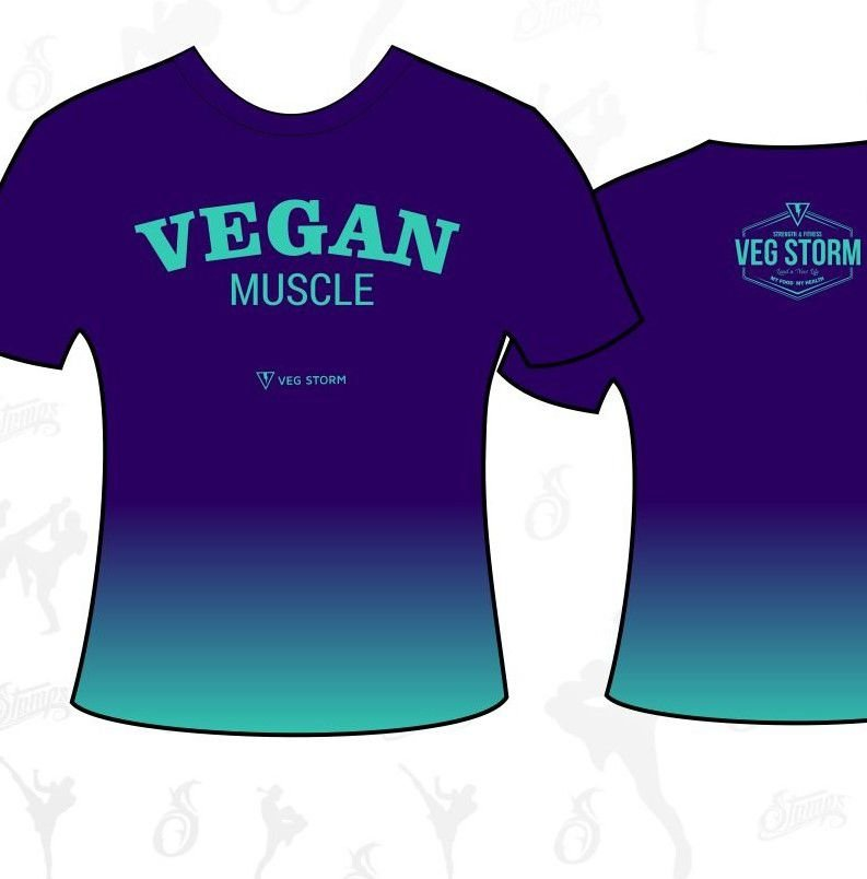 Camiseta dry fit Vegan Muscle degrade roxa com verde água