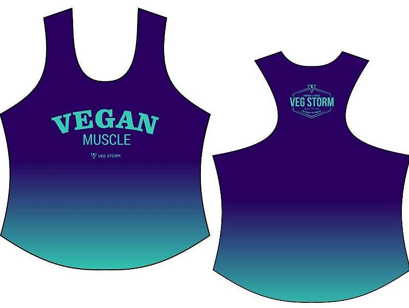 Regata Vegan Muscle dry fit roxa com verde água