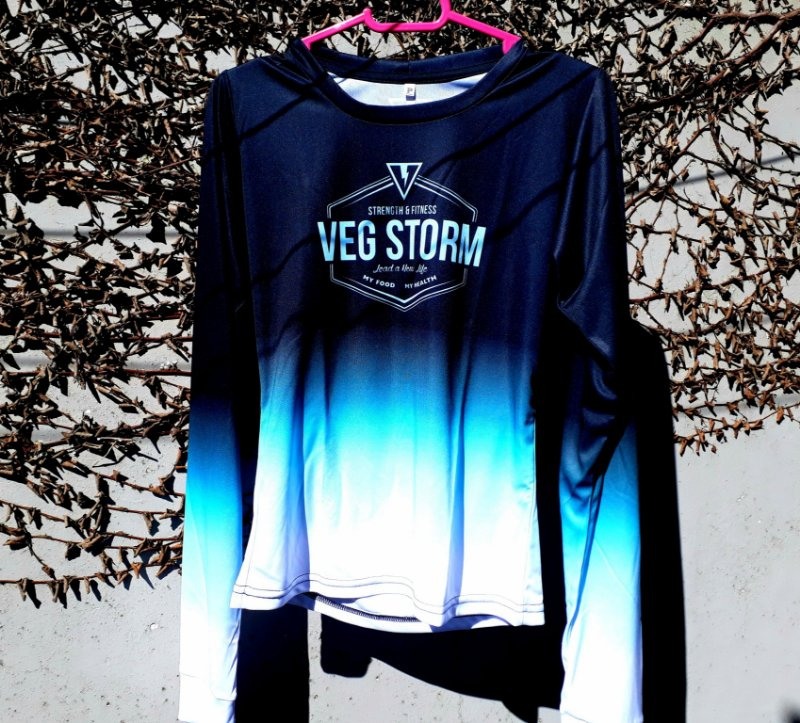 Camiseta manga longa corta vento Vegstorm dry fit preta com azul