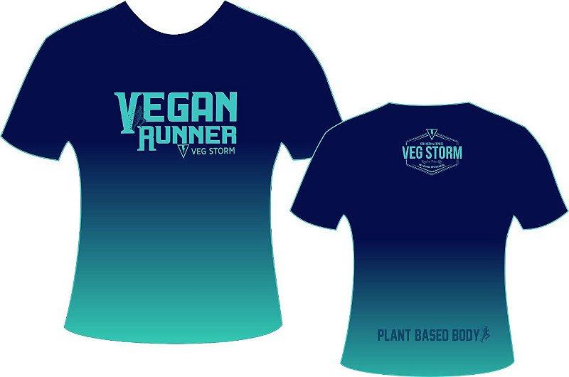 Camiseta dry fit Vegan Runner azul com verde água