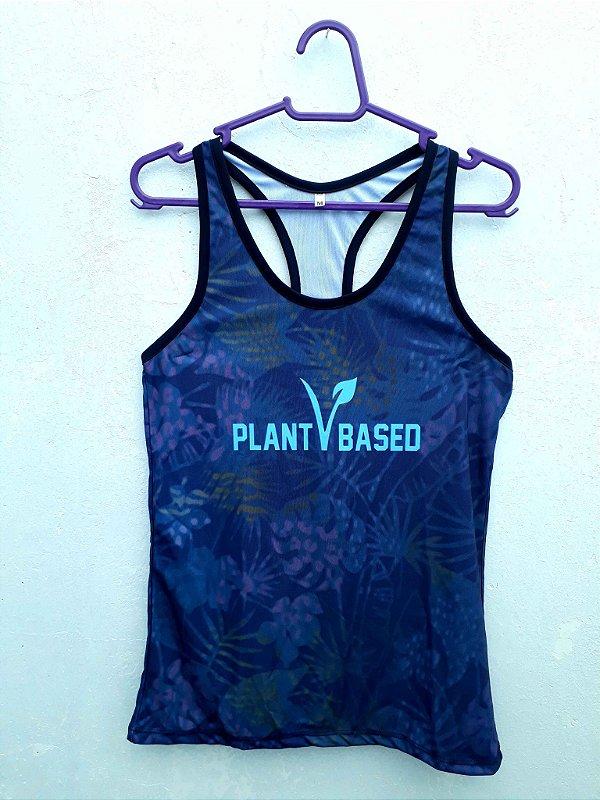 Regata feminina dry fit Plant based azul folhas