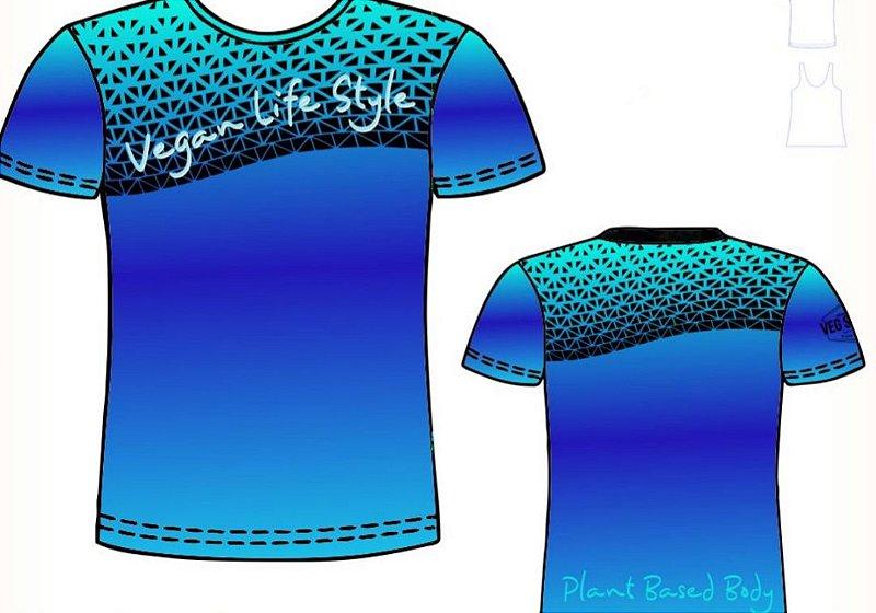 Camiseta Azul Royal com preto Vegan Life Style 2020