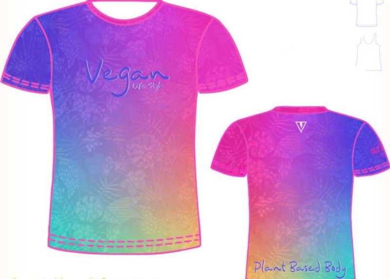 Camiseta degrade pink com azul Vegan Life Style 2020