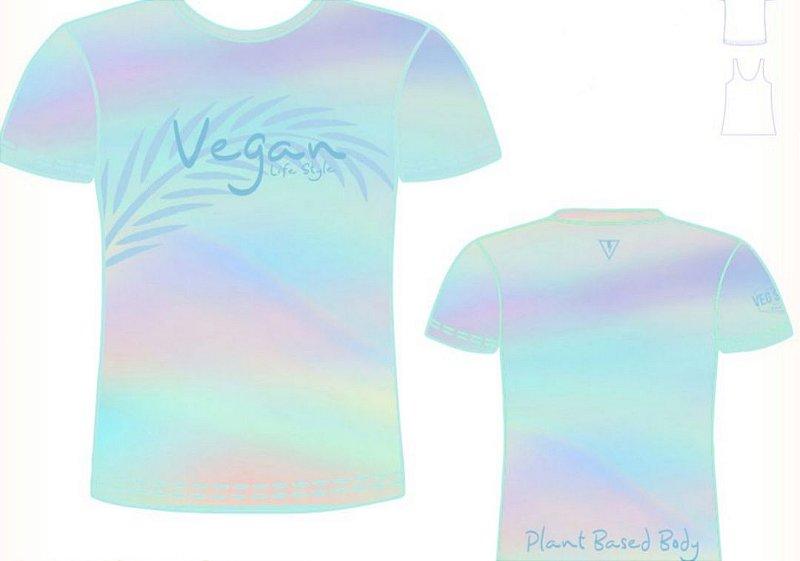 Camiseta degrade azul piscina folhas Vegan Life Style 2020