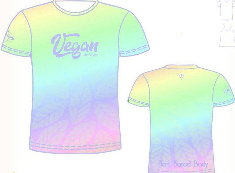 Camiseta degrade com amarelo Vegan Life Style 2020