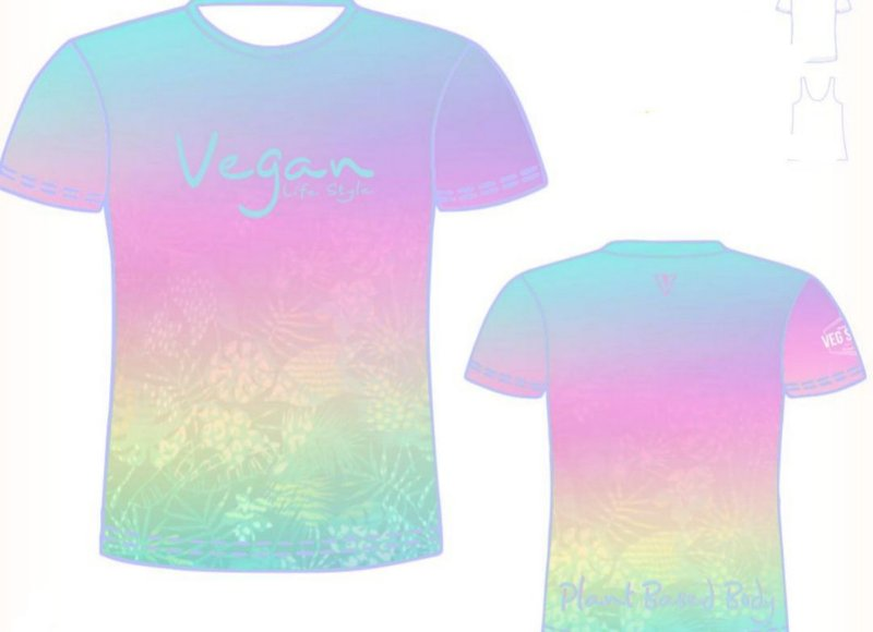 Camiseta degrade azul piscina Vegan Life Style 2020