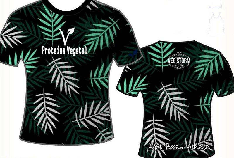 Camiseta unissex proteína vegetal preta folhas Vegan Life Style 2020
