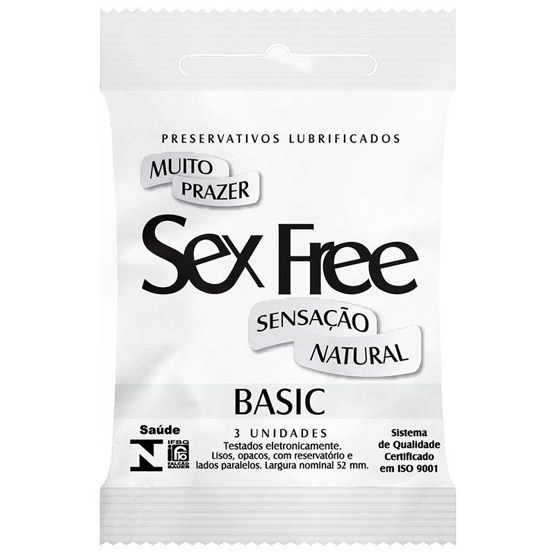 Preservativo Lubrificado Sex Free Basic Sensação Natural com 3 Unidades - SEX013