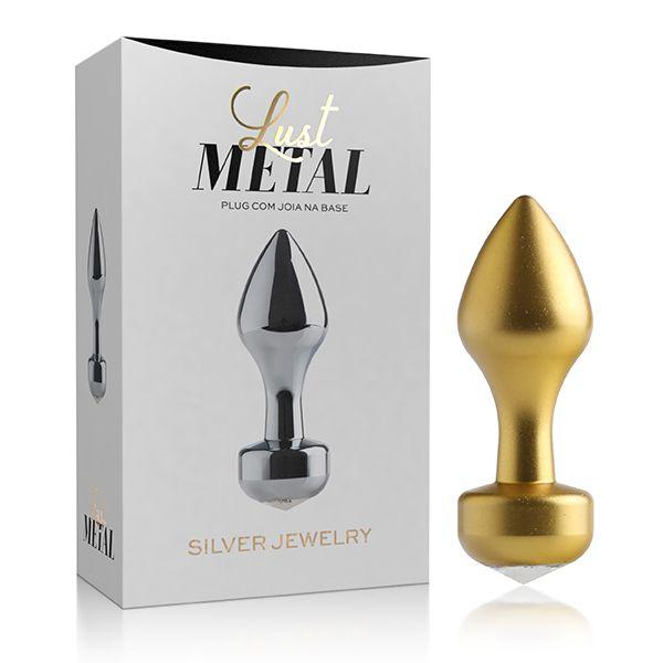 Plug Anal Lust Metal Gold Jewelry 8,2 cm x 2,9 cm x 2,5 cm - LM015