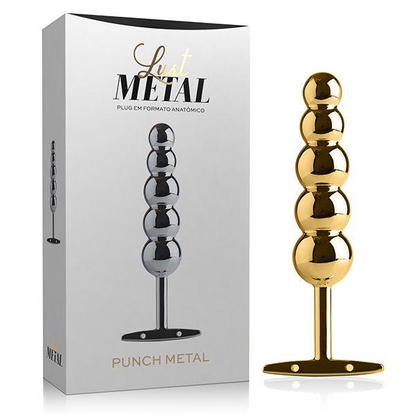 Plug Anal Lust Punch Metal Gold 15,3 cm x 3,2 cm x 6,5 cm Dourado - LM025