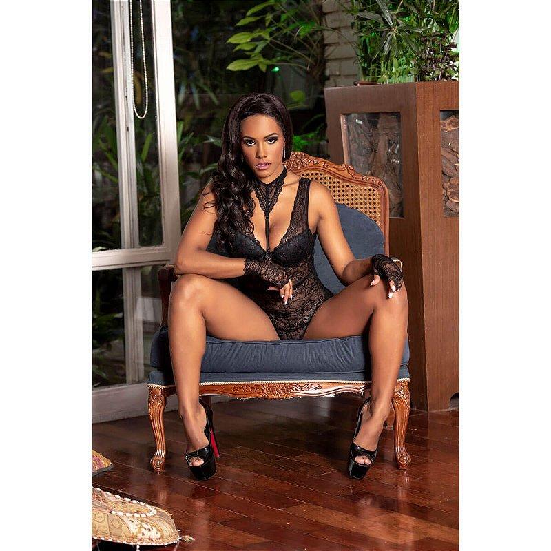 Conjunto Body Renda Cor Preta - Tam GG - Y7032