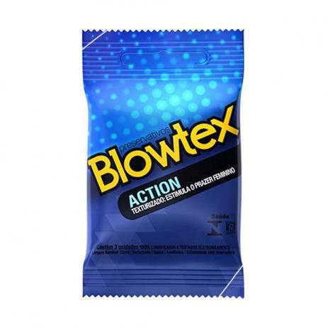 Preservativos Blowtex Action com textura estriada e bolinhas com 3 Unidades