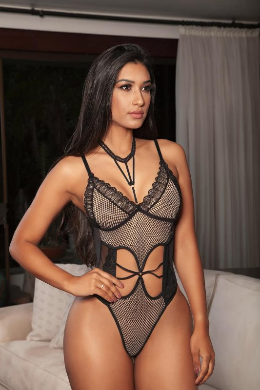 Conjunto de Body Arrastão e Renda - 02137