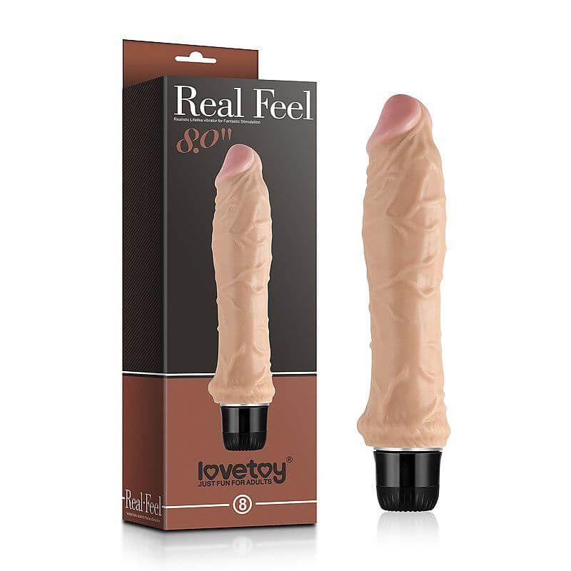 REAL FEEL Prótese realística em forma de pênis com glande definida e vibração multivelocidade - 5657