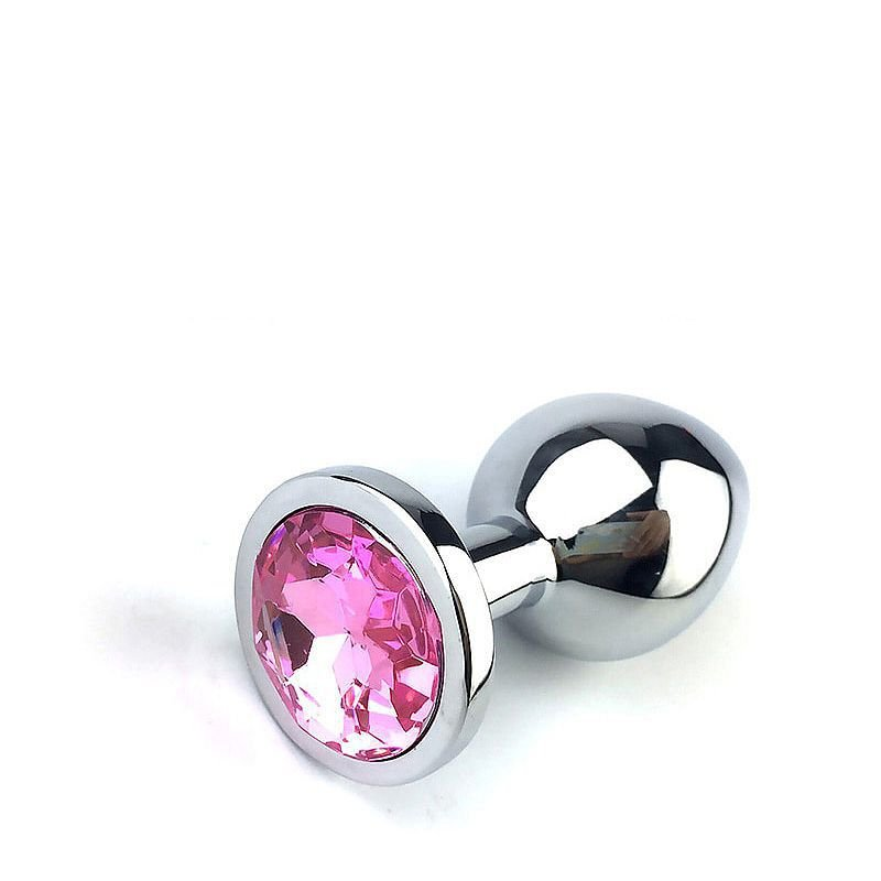 Plug anal em alumínio com pedras de cores diversas Tamanho M - 5846