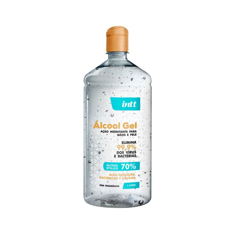 INTT - Álcool Gel Antisséptico 70% com Hidratante e sem Fragrância de 1 LITRO