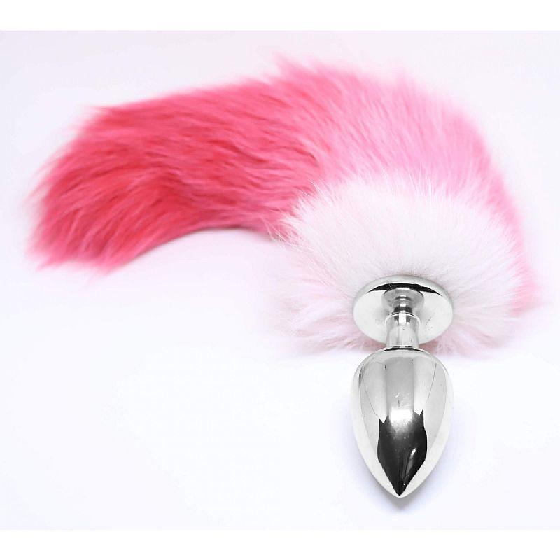 Plug Anal com Rabo de Raposa branco com rosa - 5270