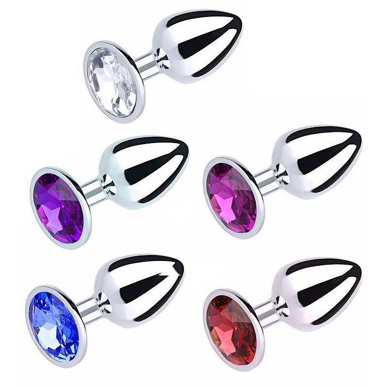 Plug anal em alumínio com pedras de cores diversas Tamanho P - 5845