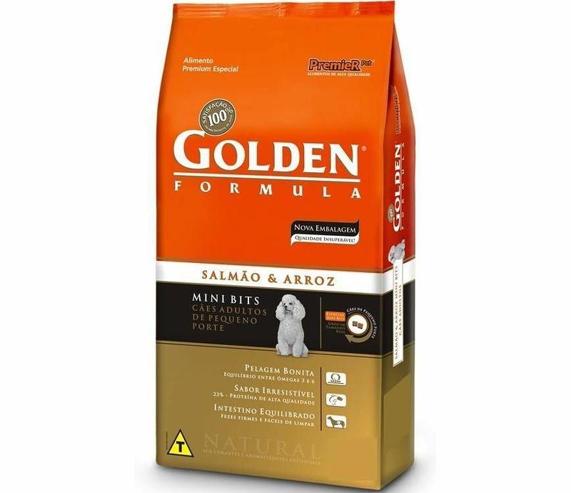Ração Premier Golden Fórmula Salmão e Arroz Mini Bits (3 kg e 15 kg)