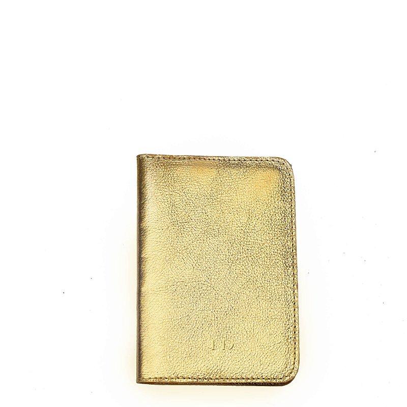 Porta Passaporte Balaia em Couro - Gold