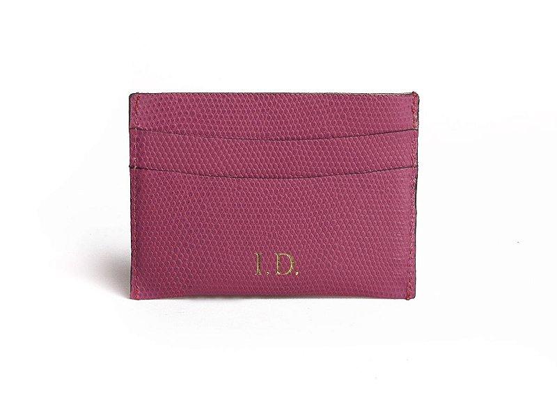 Mini carteira em couro Balaia lezard pink