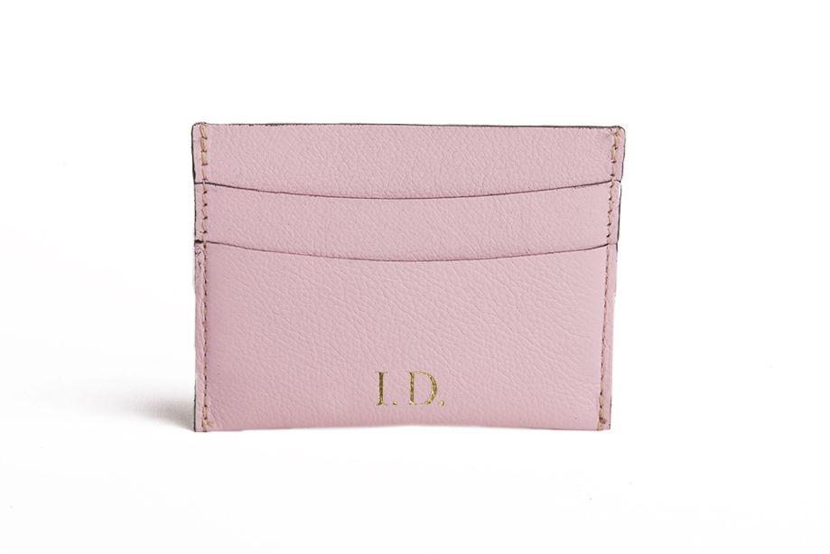 Mini carteira em couro Balaia rosa bebe