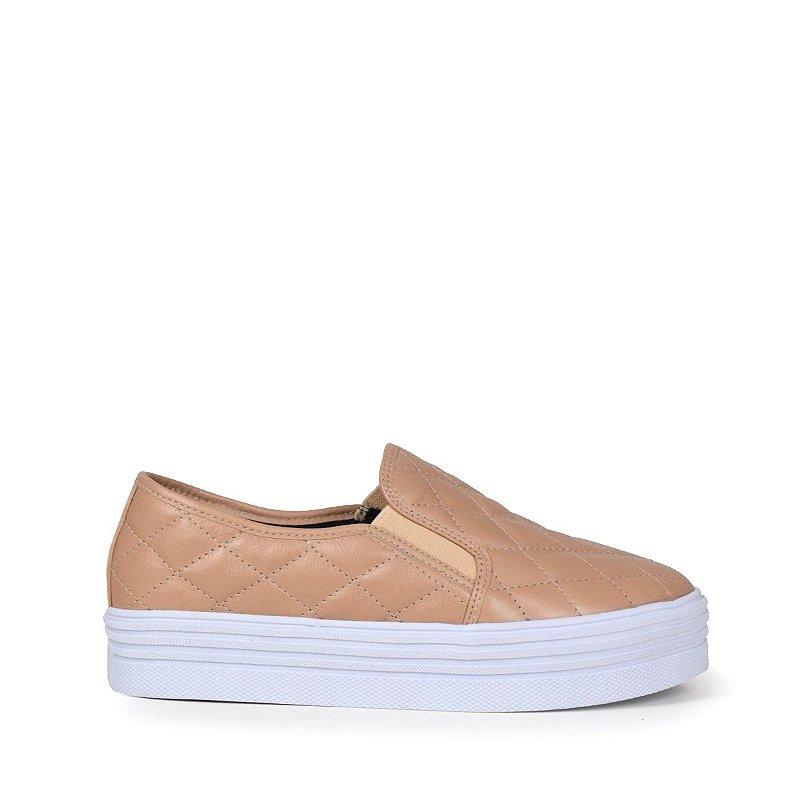 Sneaker em couro matelasse nude mod233