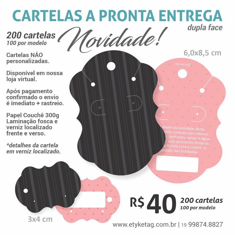 COMBO CARTELA 100/200  PRETO / ROSA