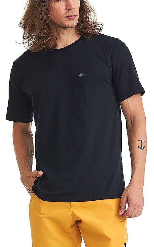 Camiseta Básica Masculina Bordado 100% Algodão Penteado - Preta