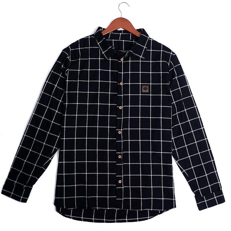 Camisa Flanela Manga Longa - Xadrez Preto e Branco