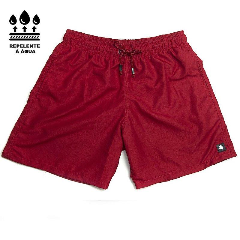 Shorts Praia Masculino Liso Repelente À Água LaVibora - Vermelho