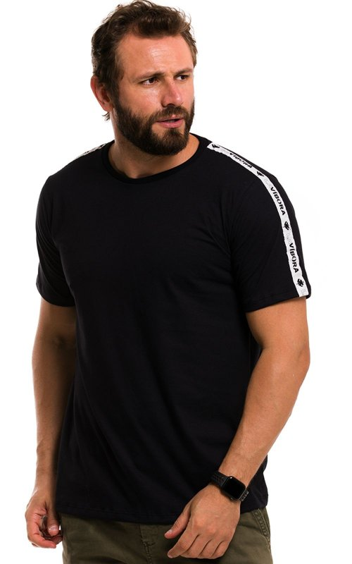 Camiseta Básica Masculina Faixa Lateral 100% Algodão LaVíbora - Preto