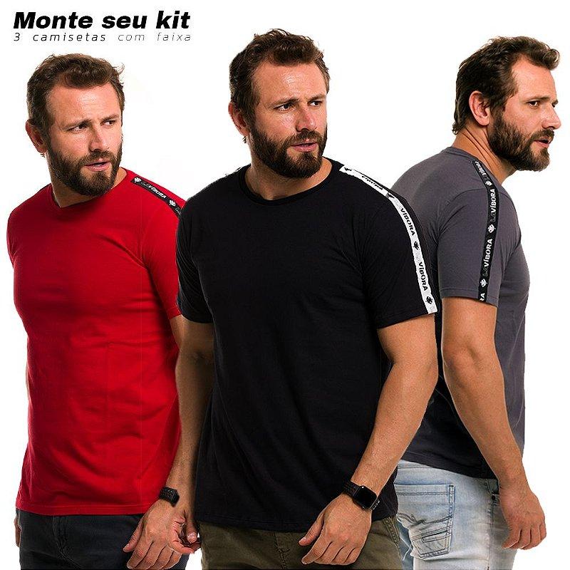Kit 3 Camisetas Masculinas Básicas Faixa Lateral Algodão Premium 30.1 - Escolha as cores