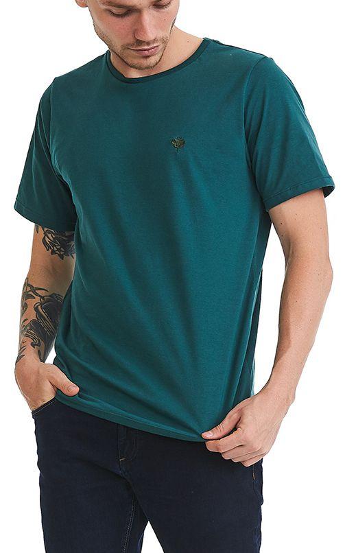 Camiseta Básica Masculina Bordado 100% Algodão Penteado - Verde