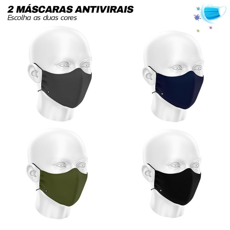 2 Máscaras de Tecido Antiviral Com Elasticidade LaVibora - Preta, Verde, Cinza e Marinho